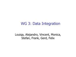 WG 3: Data Integration