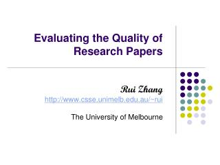 Evaluating the Quality of Research Papers
