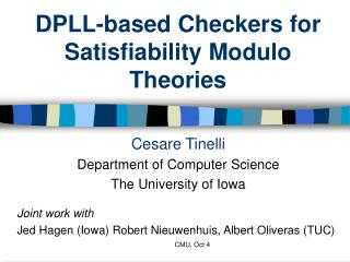 DPLL-based Checkers for Satisfiability Modulo Theories