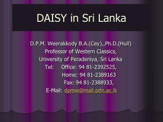 DAISY in Sri Lanka