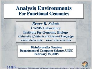 Analysis Environments For Functional Genomics