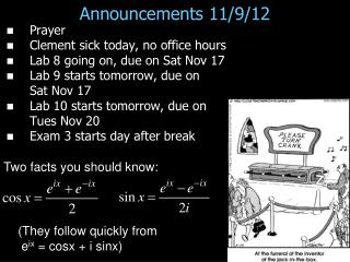 Announcements 11/9/12