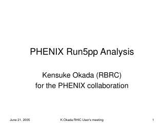 PHENIX Run5pp Analysis