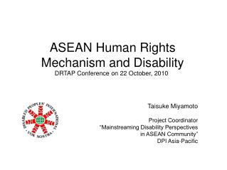 ASEAN Human Rights Mechanism and Disability
