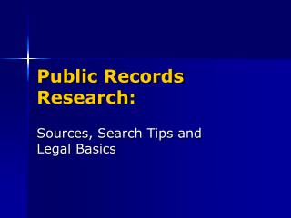 Public Records Research: