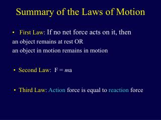 Summary of the Laws of Motion