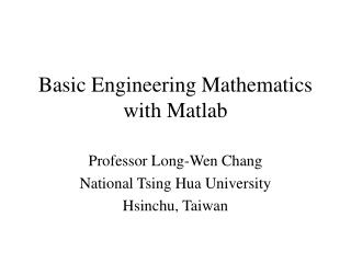 Basic Engineering Mathematics with Matlab