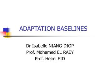 ADAPTATION BASELINES