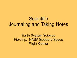 Scientific Journaling and Taking Notes