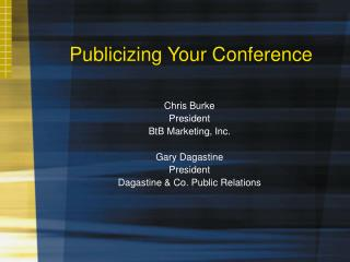Publicizing Your Conference