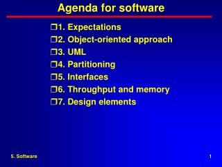 Agenda for software