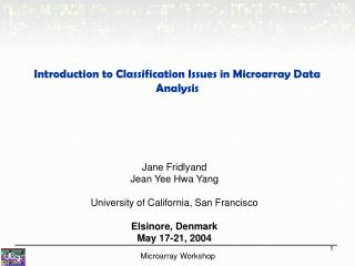 Introduction to Classification Issues in Microarray Data Analysis