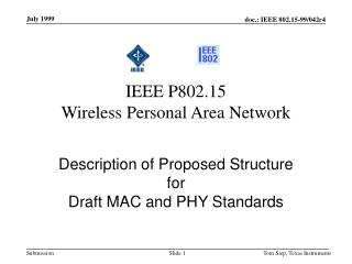 IEEE P802.15 Wireless Personal Area Network