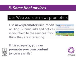 Use Web 2.0: use  news promoters