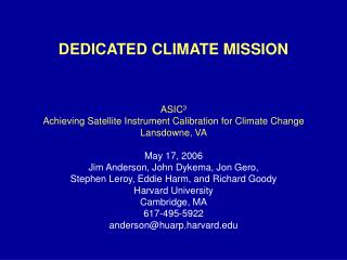 DEDICATED CLIMATE MISSION