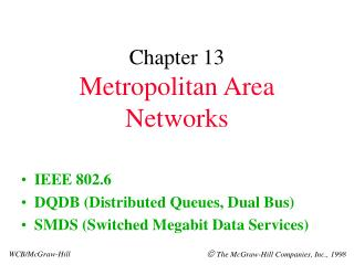 Chapter 13 Metropolitan Area Networks