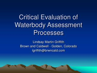 Critical Evaluation of Waterbody Assessment Processes