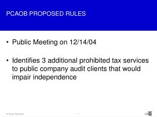 PCAOB PROPOSED RULES