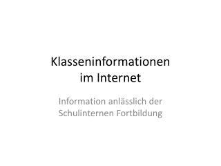 Klasseninformationen im Internet