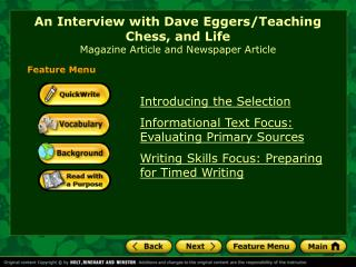 An Interview with Dave Eggers/Teaching Chess, and Life Magazine Article and Newspaper Article