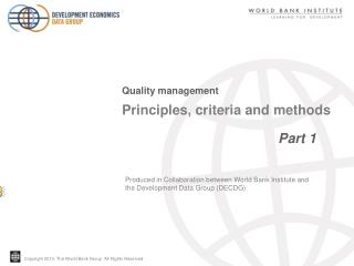 Principles, criteria and methods                                          Part 1