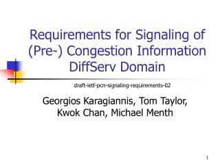 Requirements for Signaling of (Pre-) Congestion Information DiffServ Domain