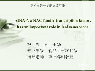 AtNAP, a NAC family trancription factor, has an important role in leaf senescence