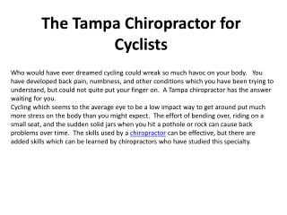 The Tampa Chiropractor for Cyclists