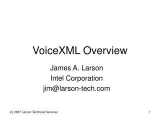 VoiceXML Overview