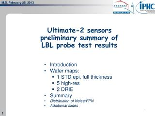 Ultimate-2 sensors preliminary summary of  LBL probe test results