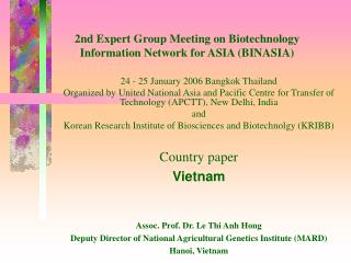 2nd Expert Group Meeting on Biotechnology  Information Network for ASIA (BINASIA)