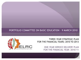 PORTFOLIO COMMITTEE ON BASIC EDUCATION – 9 MARCH 2010