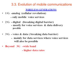 3.3. Evolution of mobile communications