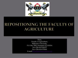 Repositioning the Faculty of Agriculture