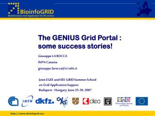 The GENIUS Grid Portal :  some success stories!