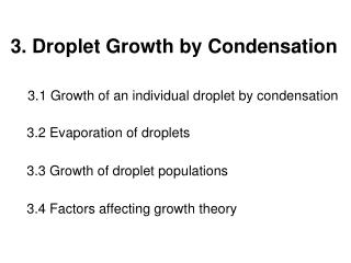 3. Droplet Growth by Condensation