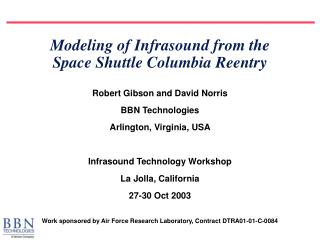 Modeling of Infrasound from the  Space Shuttle Columbia Reentry
