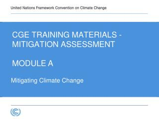CGE  Training materials -  Mitigation  Assessment Module A
