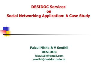 DESIDOC Services  on  Social Networking Application: A Case Study