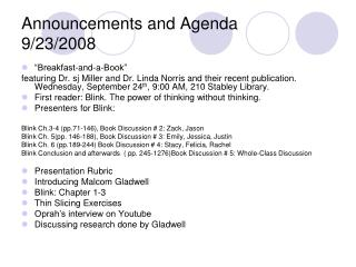 Announcements and Agenda 9/23/2008
