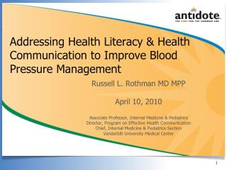 Addressing Health Literacy & Health Communication to Improve Blood Pressure Management