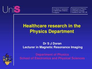 Healthcare research in the Physics Department