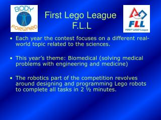 First Lego League  F.L.L