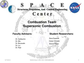 Combustion Team Supersonic Combustion