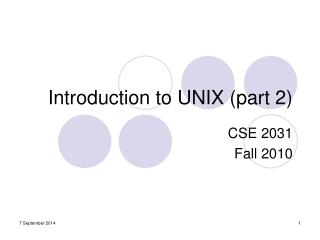 Introduction to UNIX (part 2)
