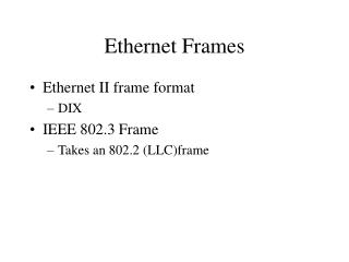 Ethernet Frames