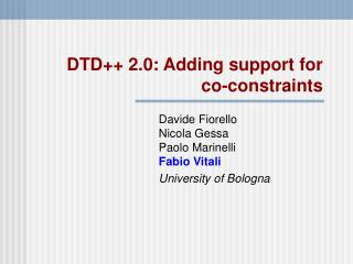 DTD++ 2.0: Adding support for  co-constraints