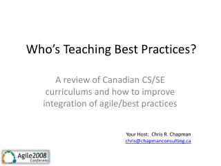Who's Teaching Best Practices?