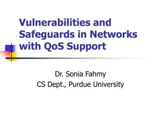 Vulnerabilities and Safeguards in Networks with QoS Support