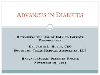 Advances in Diabetes
